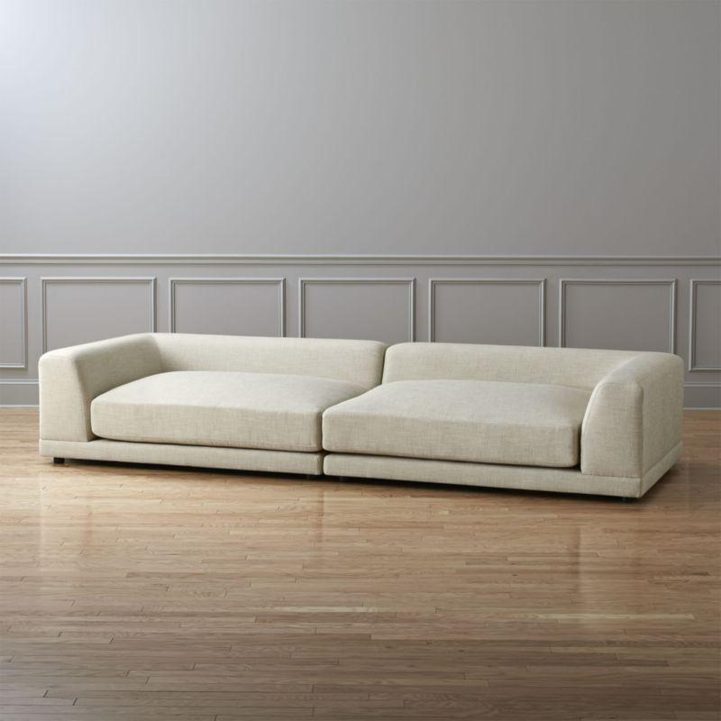 Shop Uno 2 Piece Cream Sectional Sofa One Super Easy