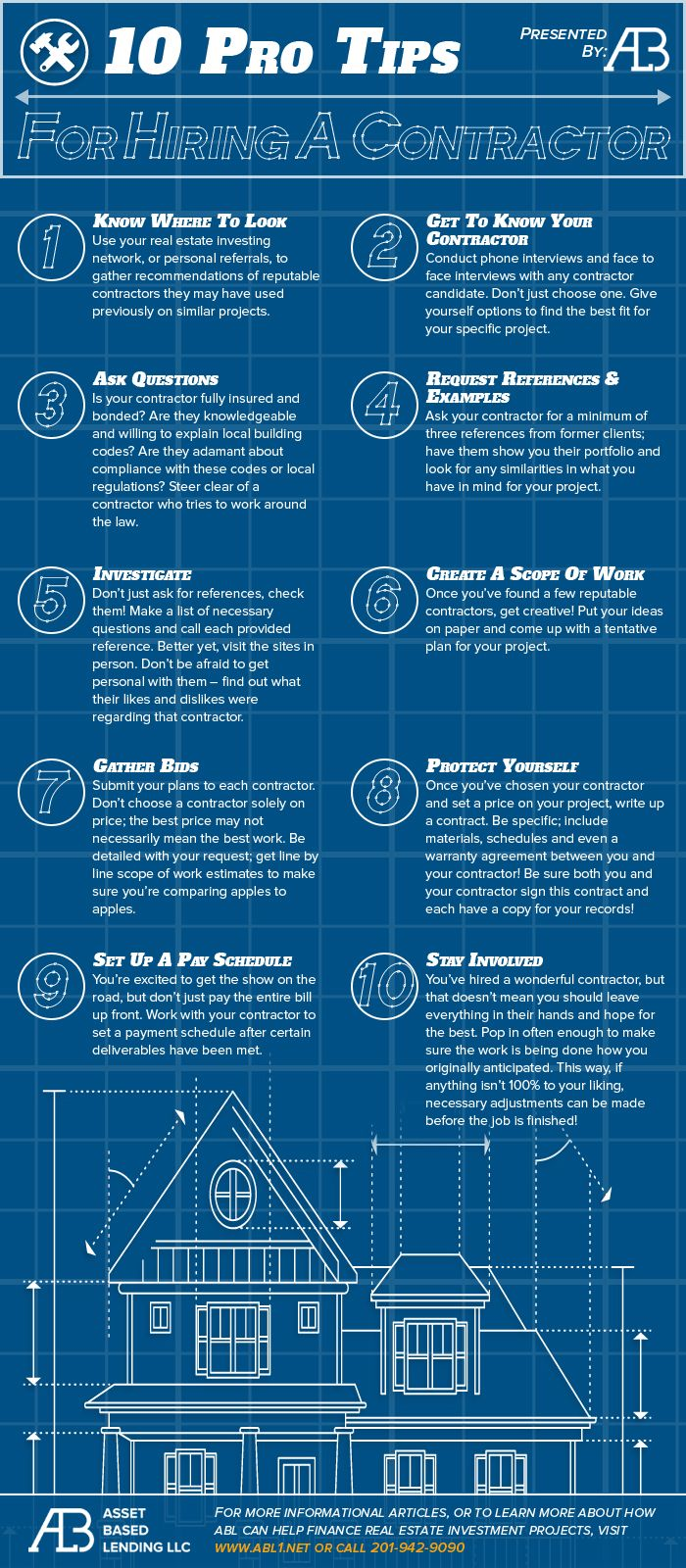 10 Tips For Hiring A Contractor Infographic Home Improvement Contractors Contractors House Renovation Contractor