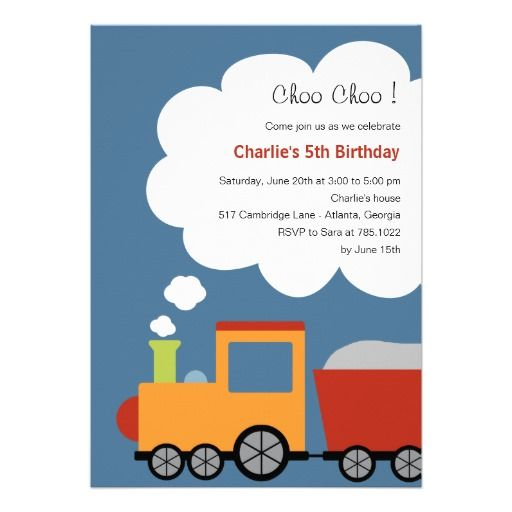Birthday Train Party Invitation Train Birthday Party Invitations
