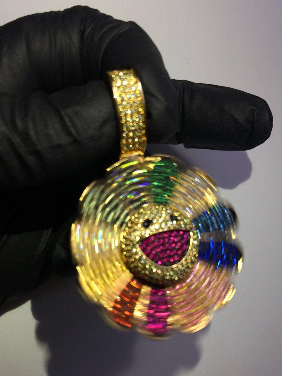 Takashi murakami flower diamond fidget spinner pendant