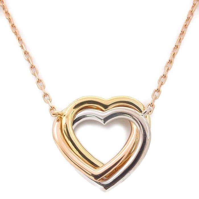 236233494 Authentic Cartier Trinity Heart Diamond Necklace K18 750 YG/WG/PG Used F/S