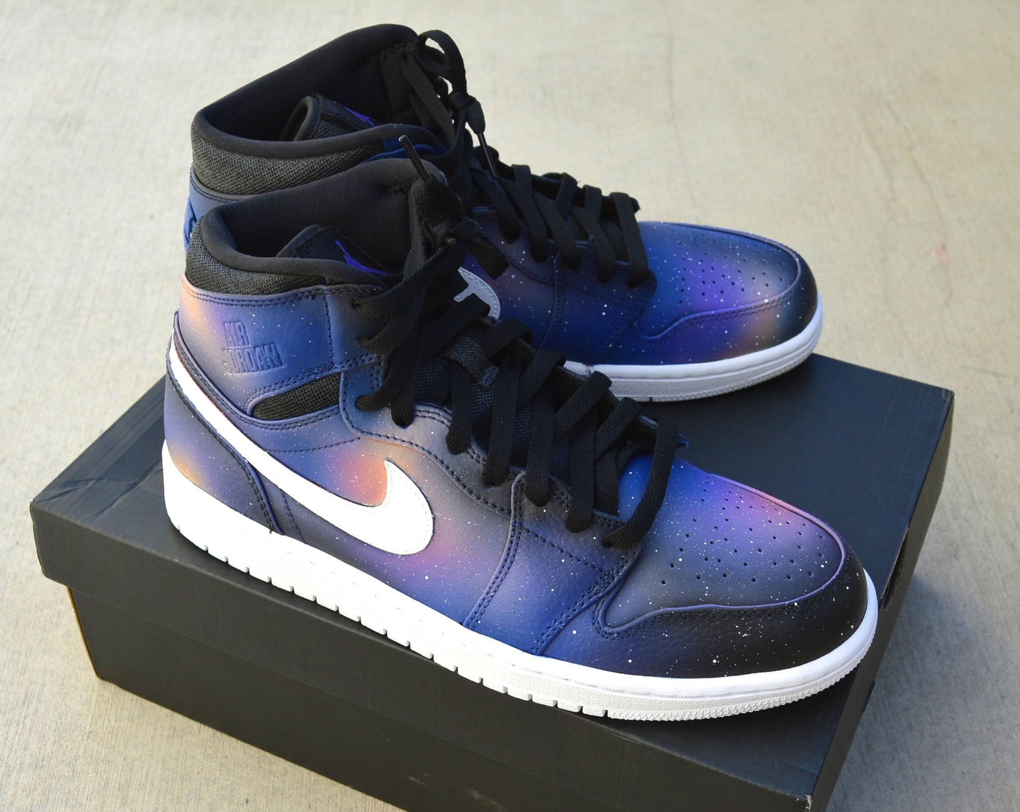 newest collection 6a432 5d5fe These custom Hand Painted Jordan 1 Retro Sneakers feature a my signature  galaxy pattern all around the shoes. No two pairs are the same and your  pair will ...