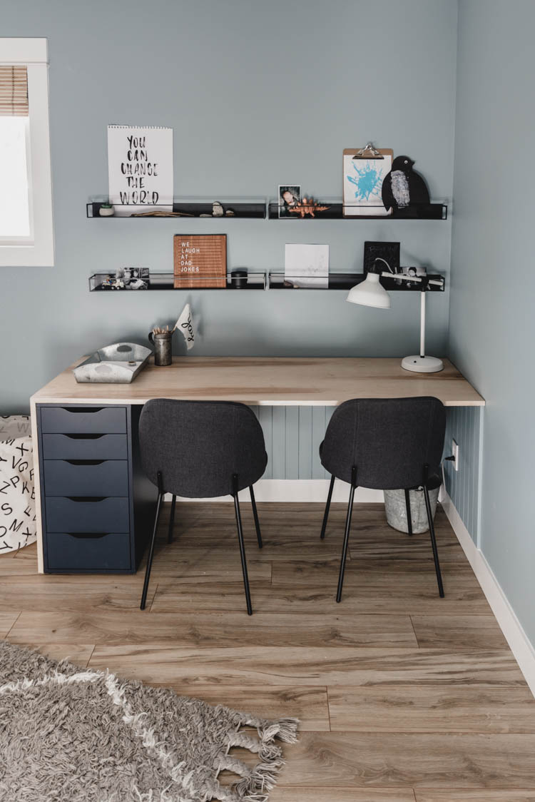 Plywood DIY Double Desk: IKEA Hack   Black dining chairs ...