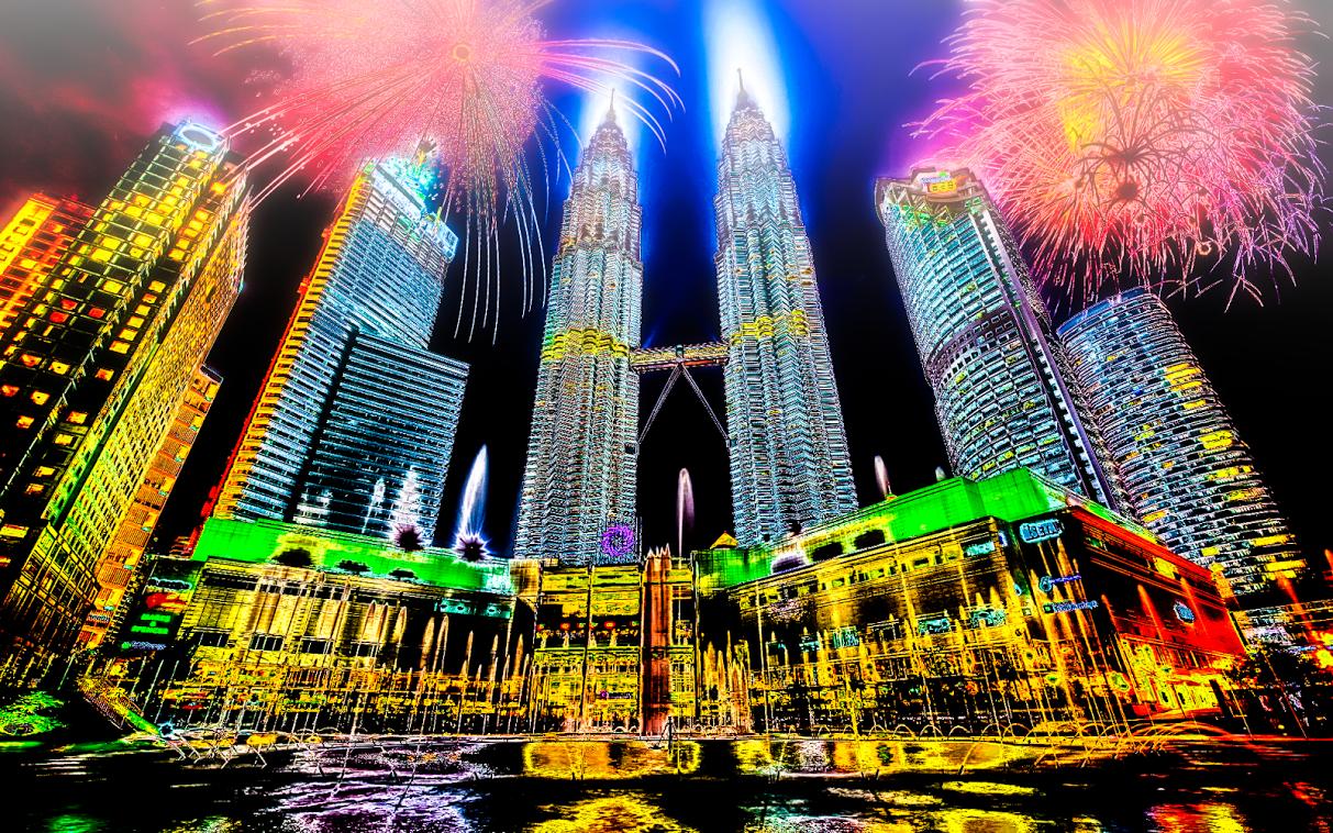 Wallpaper Art. Petronas Twin Towers, Kuala Lumpur, Malaysia.