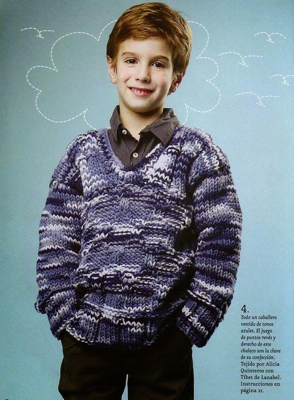 Patrones gratis de tejido: Sueter de niño escote V tejido en dos ...
