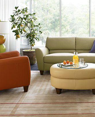 Almafi 4-Piece Leather Sofa Set: Sofa, Love Seat, Recliner and ...