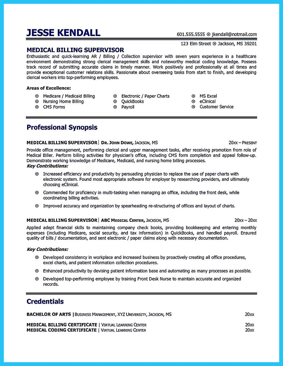 Pin On Resume Sample Template And Format Medical Billing