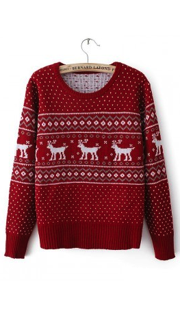 Reindeer Knit Leggings with Sweater Red Dress