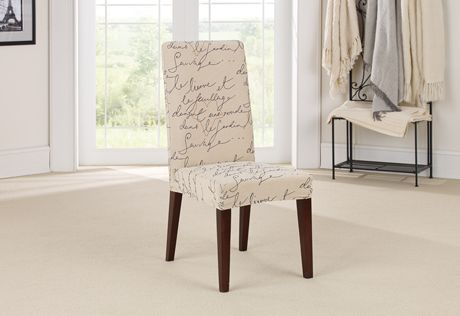 Superb Stretch Pen Pal By Waverly Short Dining Chair Slipcover Inzonedesignstudio Interior Chair Design Inzonedesignstudiocom
