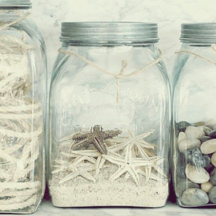 Love This Beach Decor Nice Jars Sand Shells Would Look Great In A Little Cottage My Three Be Starfish Gl And Tiny
