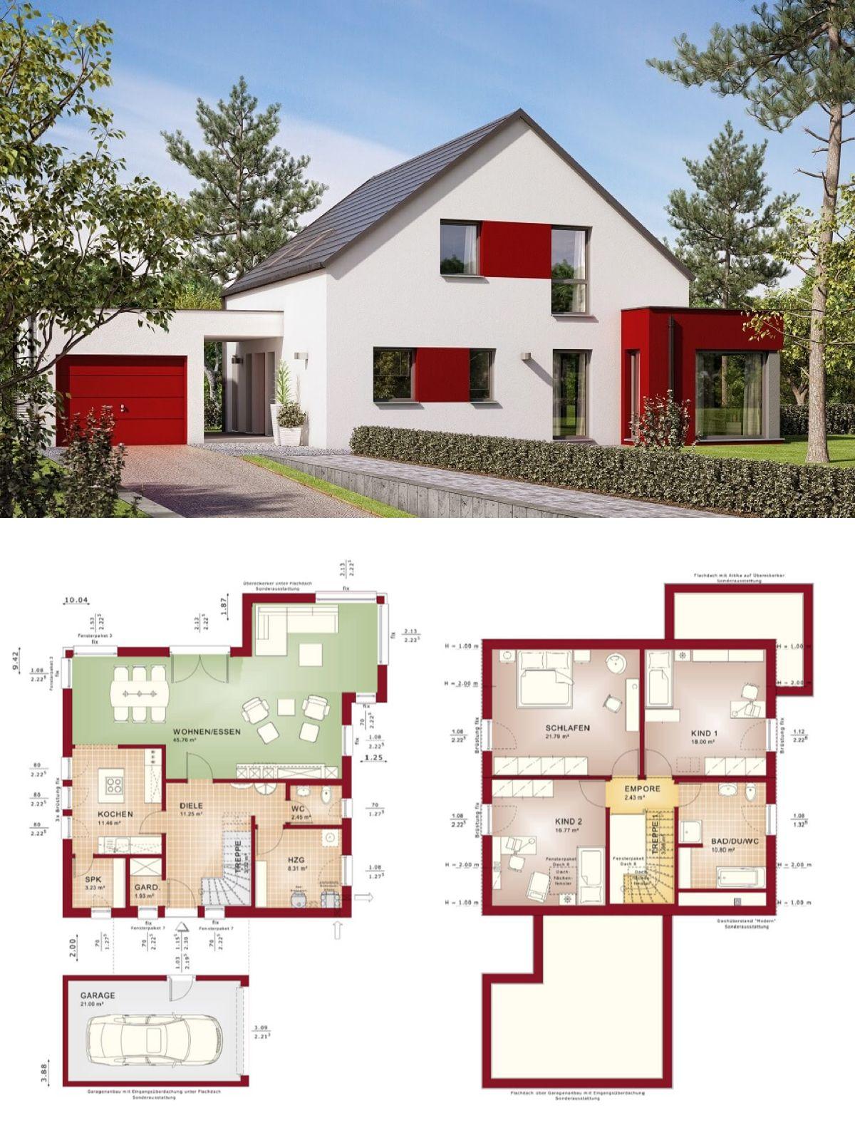 Einfamilienhaus Mit Garage Und Satteldach   Haus Grundriss Evolution 154 V6  Bien Zenker Fertighaus Ideen
