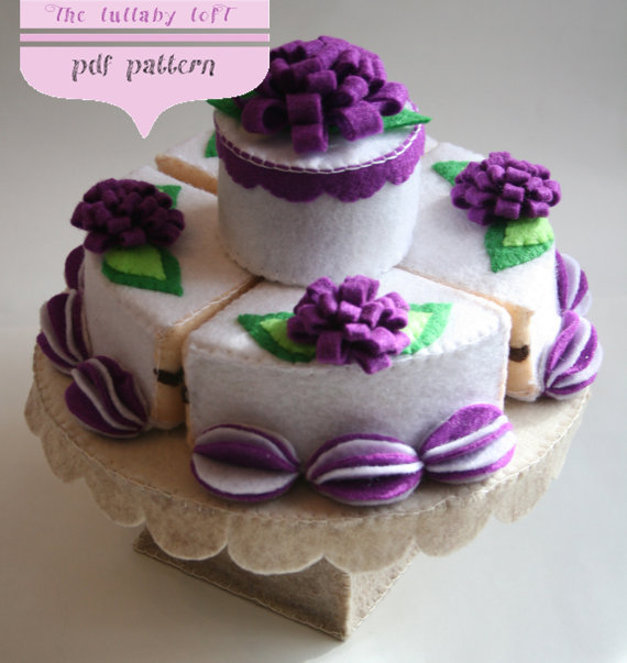 Felt Birthday Cake 2 Tier Pdf Pattern With Stand Candles