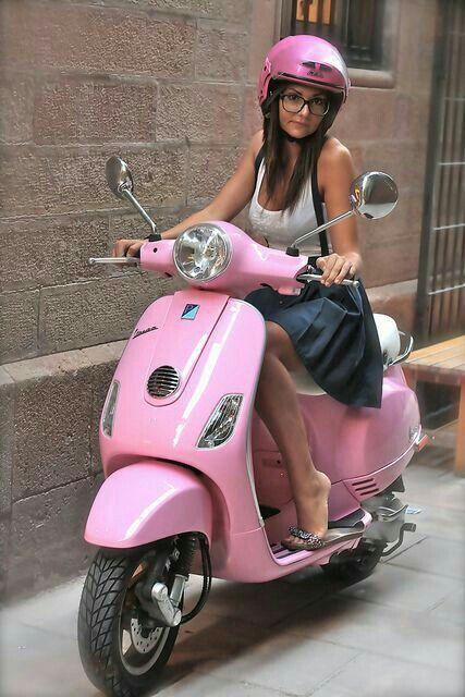 Just Circlin Around Town Scooter Girl Pink Vespa Vespa Girl
