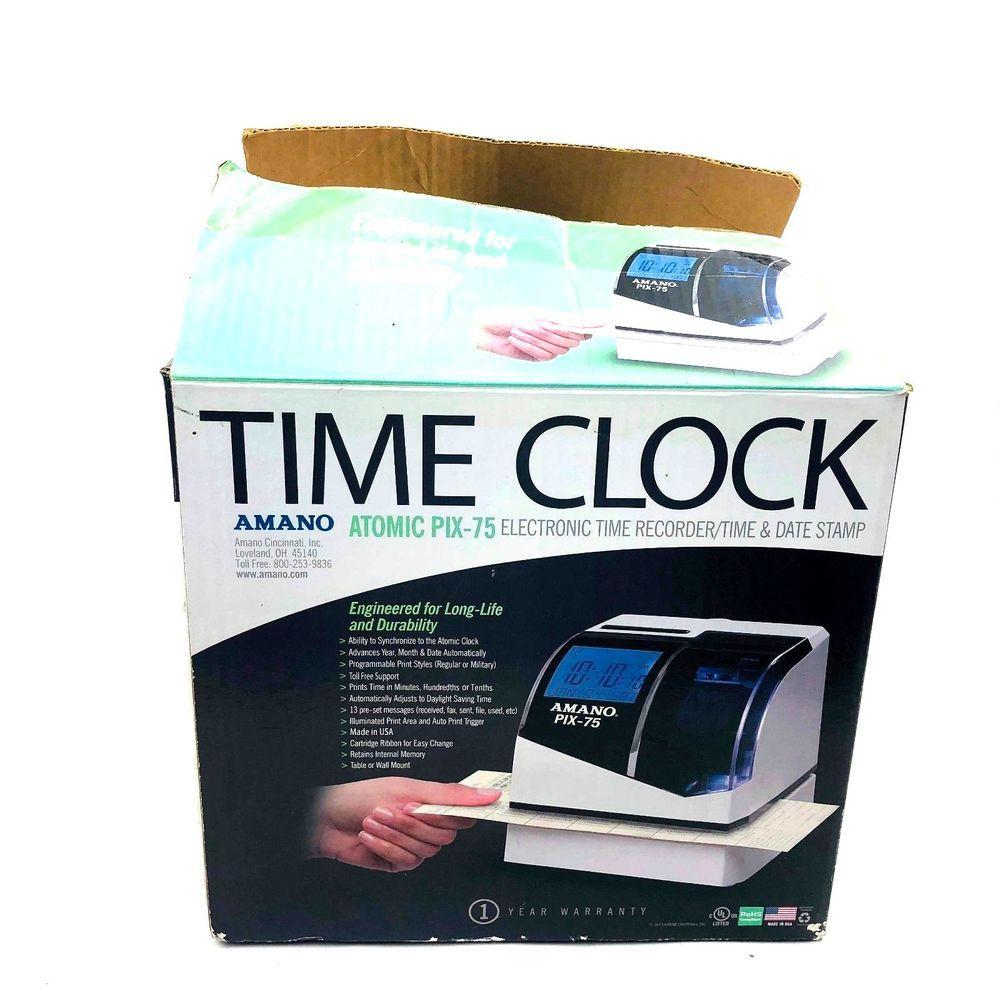 Amano Atomic Pix 75 Electronic Atomic Time Clock Recorder Date