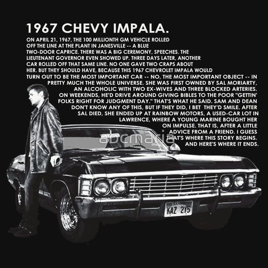 1967 Chevy Impala Relaxed Fit T Shirt By Abcmaria Supernatural