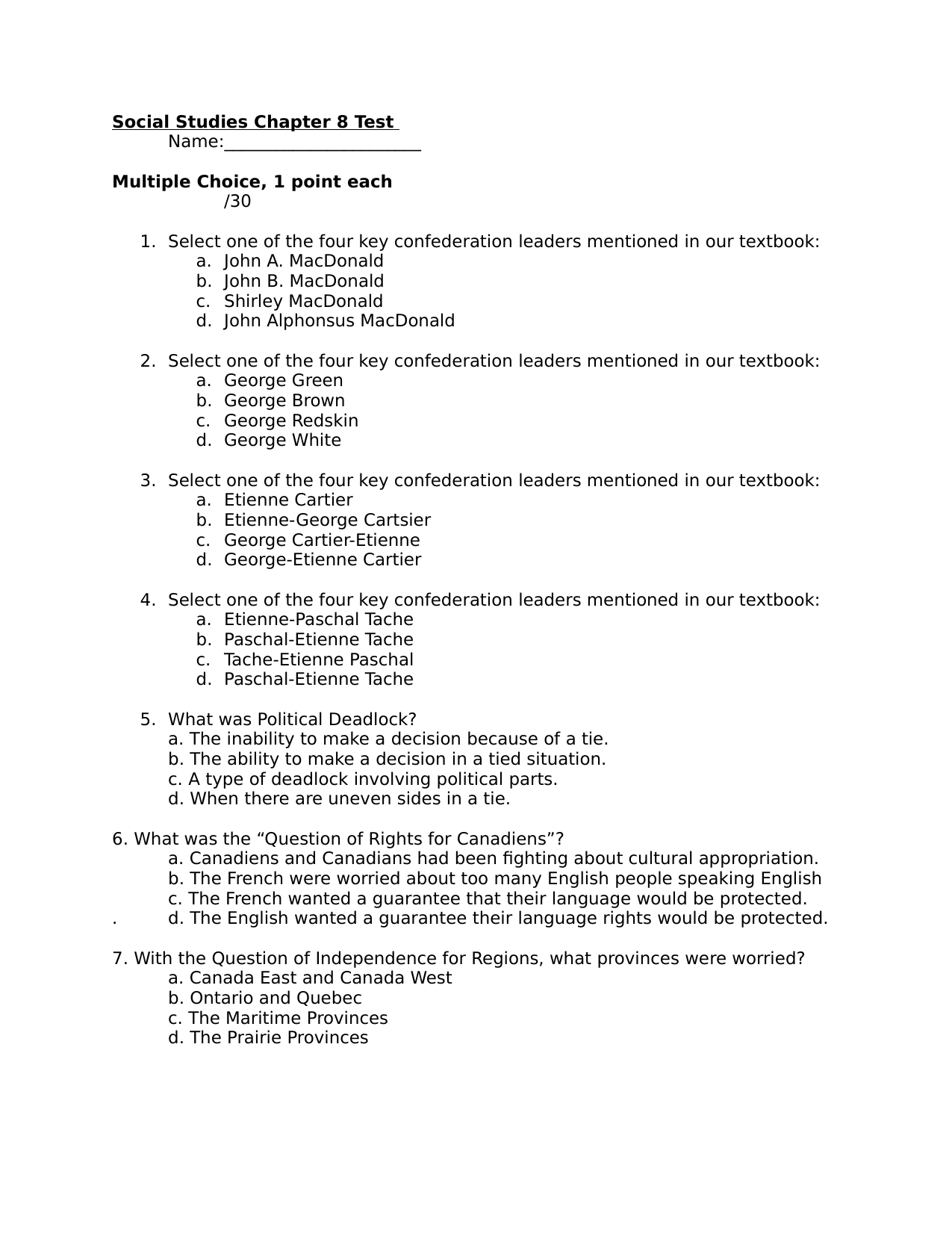 hight resolution of Our Canada Chapter 8 Quiz Resource Preview   Social studies worksheets