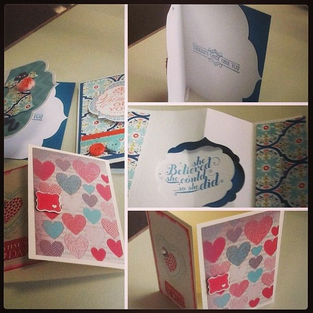 spring cards done at my luv 2 stamp mtg #stampinup #spring #hearts