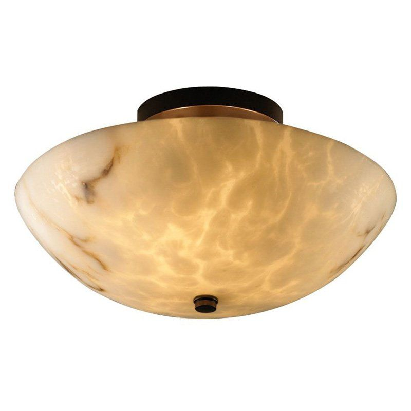 Justice Design Group FAL-9690 - Ring 14 Semi-Flush - Round Bowl Shade - Dark Bronze - FAL-9690-35-DBRZ