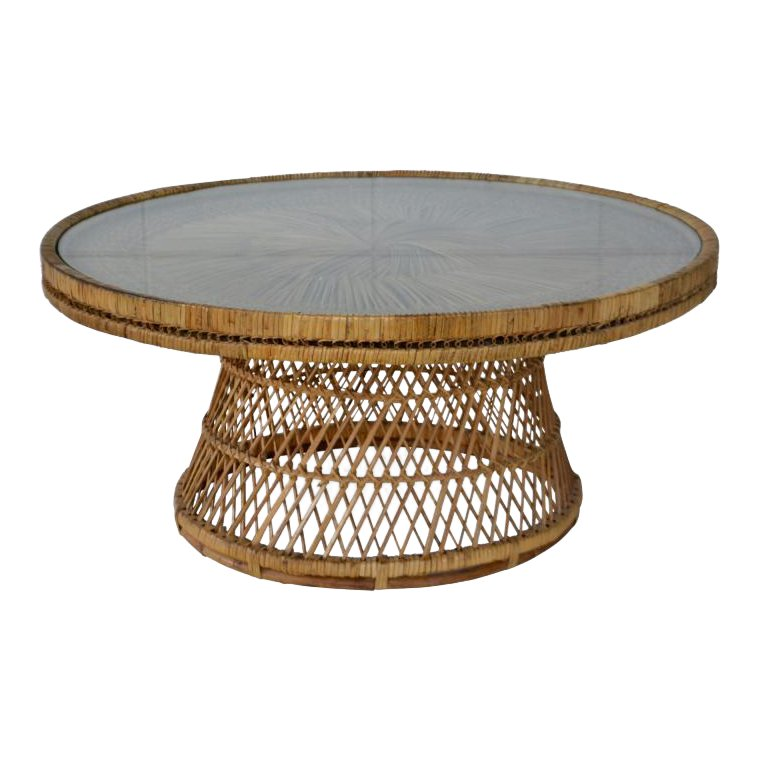 Mid-Century Woven Rattan Coffee Table | Coffee table, Rattan coffee table, Wicker coffee table