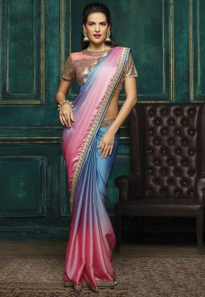 24d8421137 Ombre Satin Georgette Saree in Blue and Pink   Exquisite Indian ...