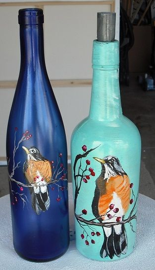 painting glass with acrylic paint robin bottles painting