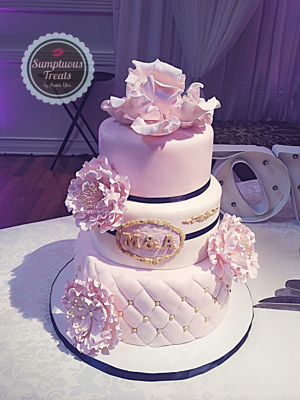 Blush Pink Gold Navy Blue Wedding Cake Custom Made To Order