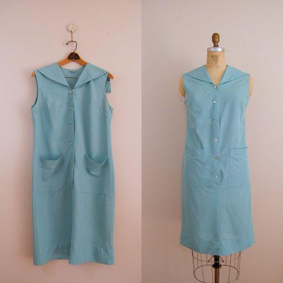 413854e6c40 Vintage 1960s Maid s Uniform   1960s Dress   Blue Green