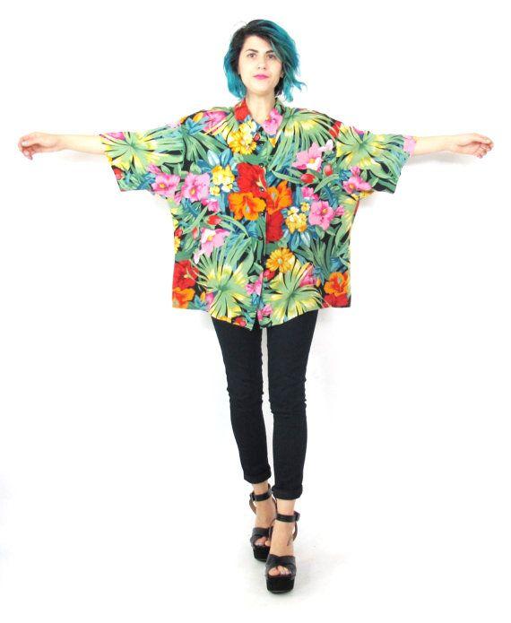 80s Tropical Floral Blouse Slouchy Hawaiian Shirt Short Sleeve ...