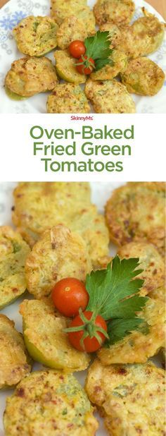 I'm in love with these Oven-Baked Fried Green Tomatoes! Baking instead of frying slashes a bunch of calories while retaining it's amazing flavor. #skinnyms #cleaneating