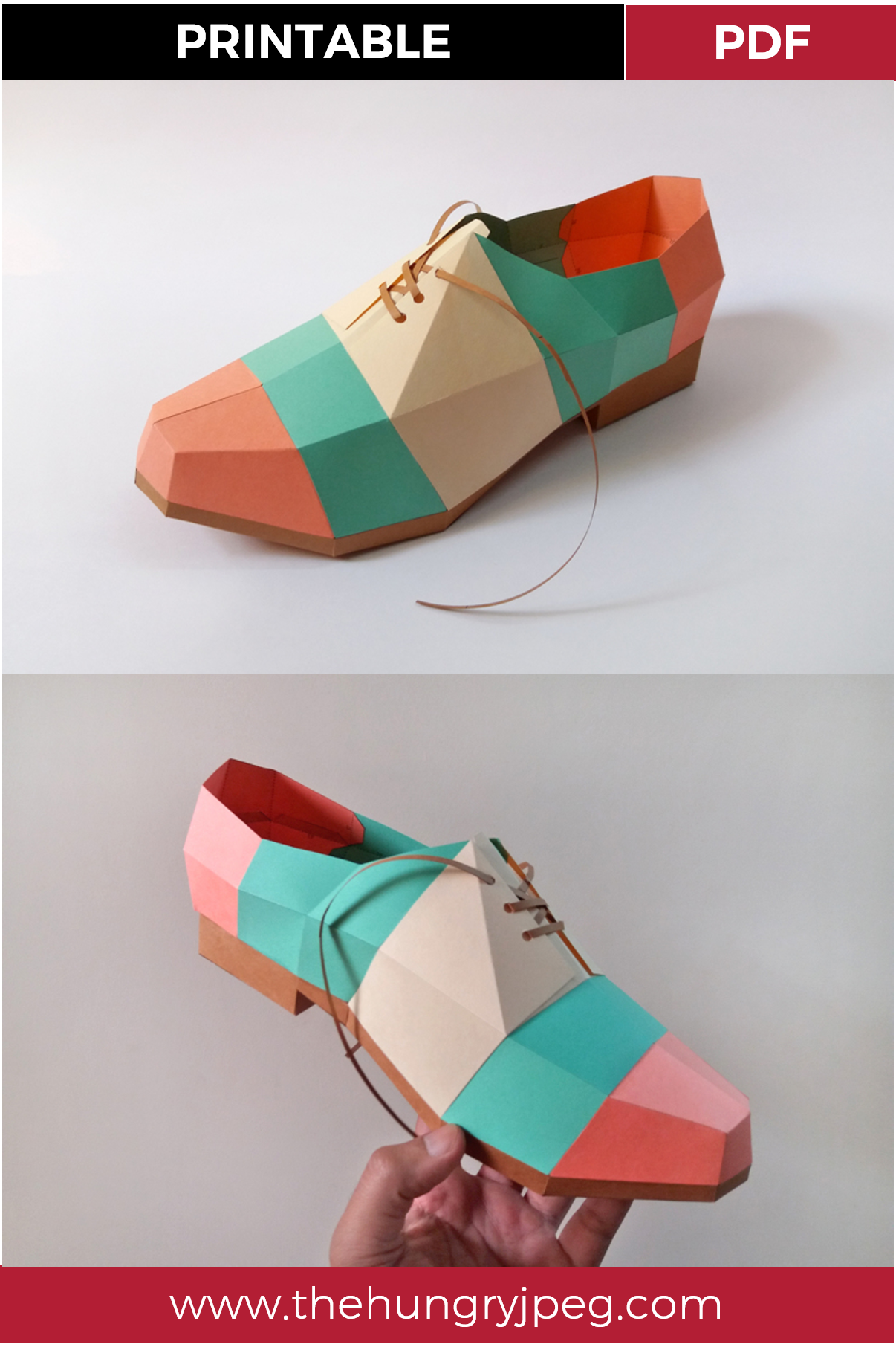 DIY Colorful pointed Shoe -3d