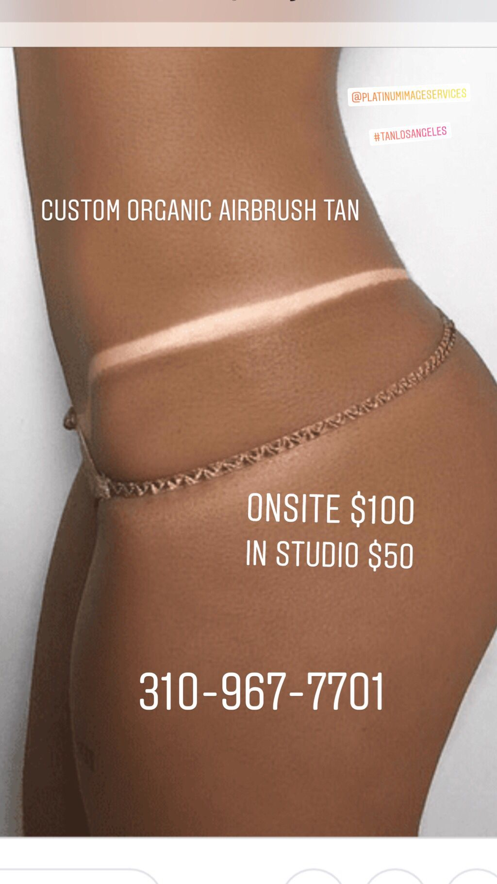 This custom organic airbrush tan Can be done anywhere in