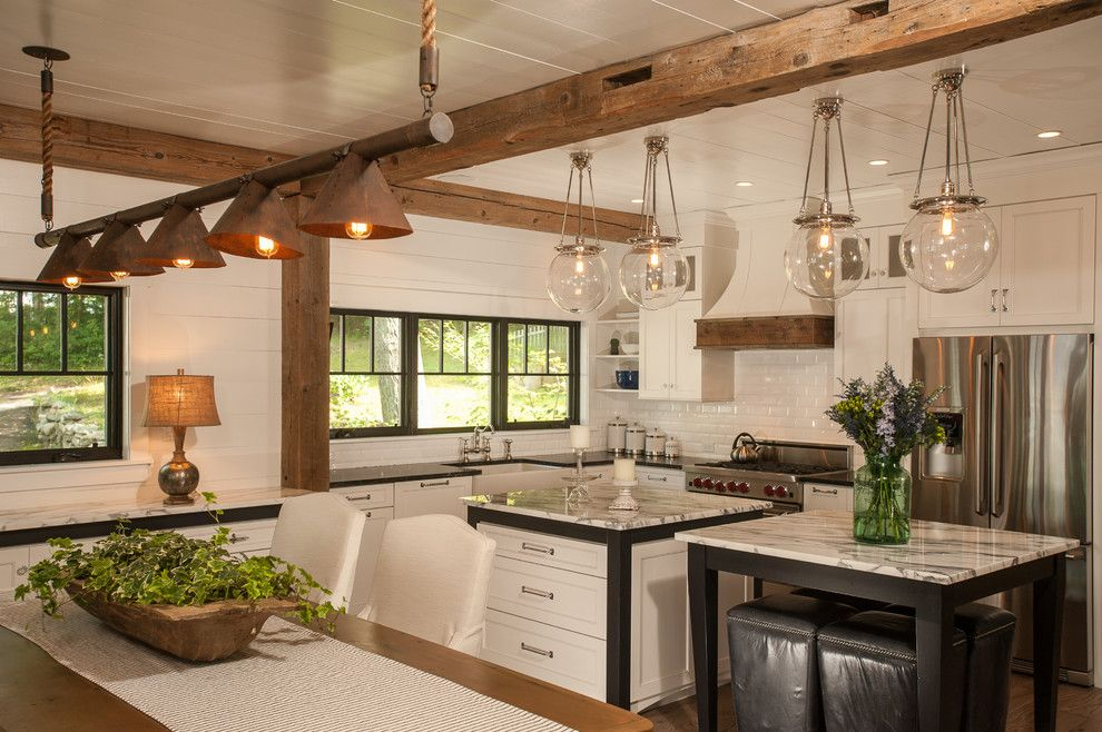 Light Bulb Fixture Rustic Kitchen With Lake House