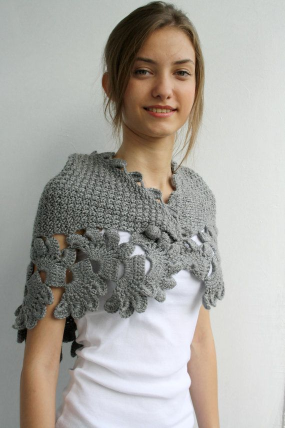 Gray Knit Capelet / Knitted Grey Shawl / Knitting Gray Scarf / Knit ...