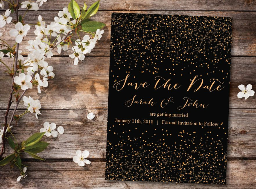 sample wording for save the date wedding cards%0A Save the Date Calendar Template Save the Date Postcard Printable Save the  Date Announcement Save the Date Card Printable Gold and Black