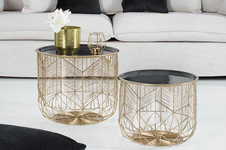 Eleganter Couchtisch Storage 42cm Gold Grau Aufbewahrungskorb Mit Tablett Riess Ambiente De Gold Wohnzimmer Couchtisch Couchtisch Korb