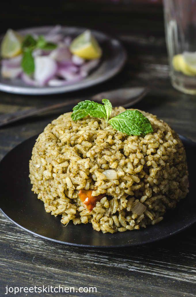 pudina biryani spicy mint biriyani without vegetable or meat rh pinterest com