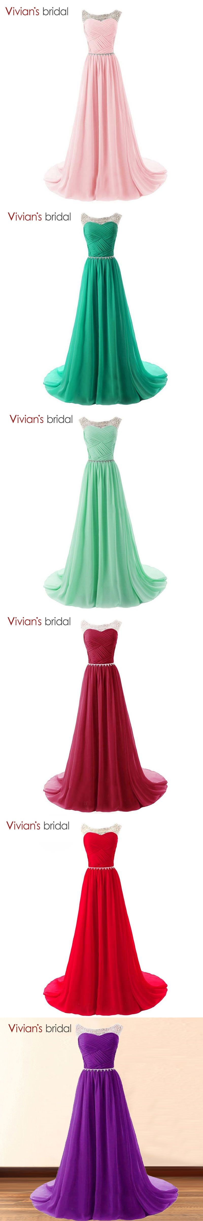 Free shipping In stock Beaded Evening Dresses A-Line Colorful Chiffon  Sleeveless vestido de festa 5333bb24eab2