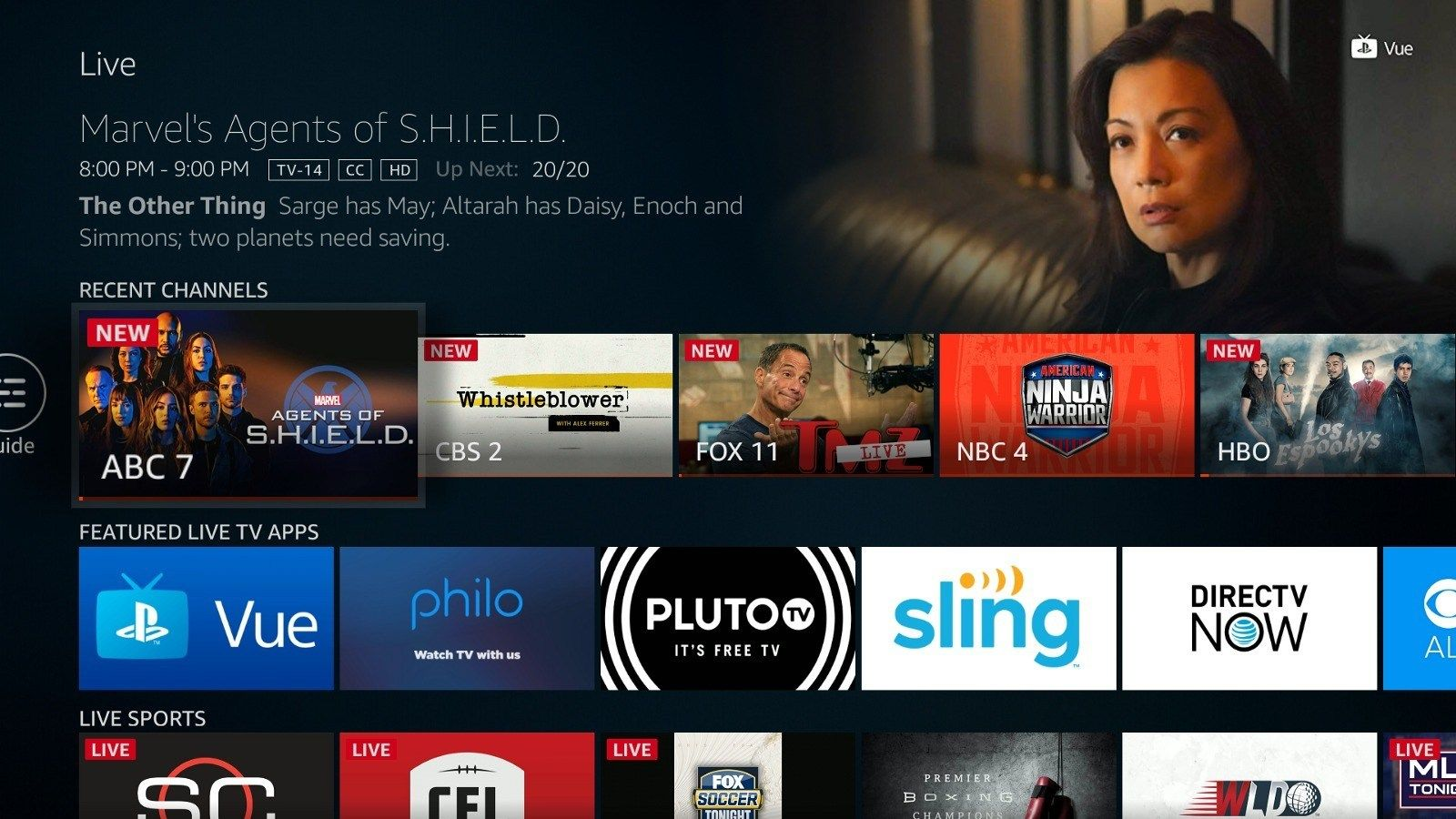 Amazon Is Adding A New Live Tv Section To The Fire Tv With Content From Directv Now Playstation Vue Amp More Fire Tv