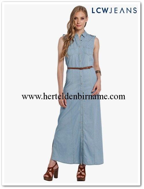 Lcw Uzun Kolsuz Denim Gomlek Elbise 60 Tl Moda Gomlek Elbise Elbise