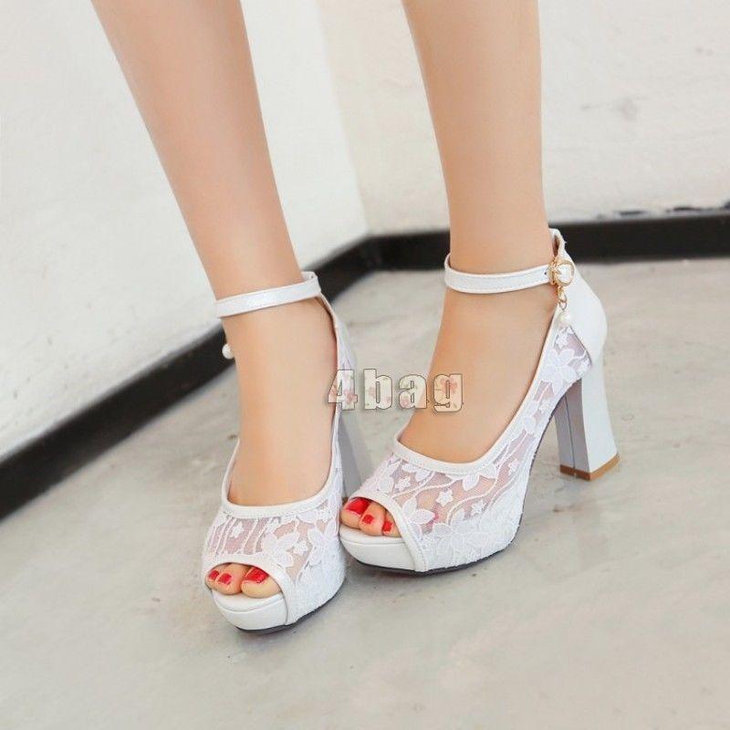 Womens Peep Toe Lace Up Platform Block High Heel Party Wedding Shoes Plus  Size #weddingshoes