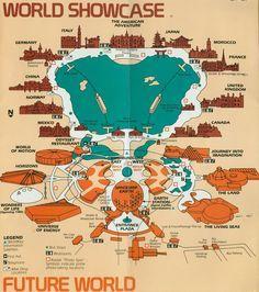 Epcot World Showcase map, 1980s   Epcot   Pinterest   Epcot, Disney ...