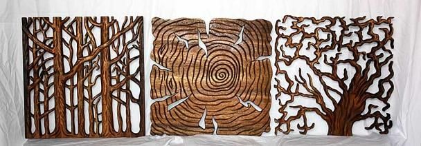 Wall Decor Tree Of Life Art Set Carved Wood Decor Carved Wood