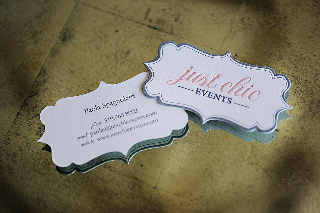 Template Formal Letter%0A Just Chic Events DieCut Letterpress Business Cards from Poppy Flower  Press