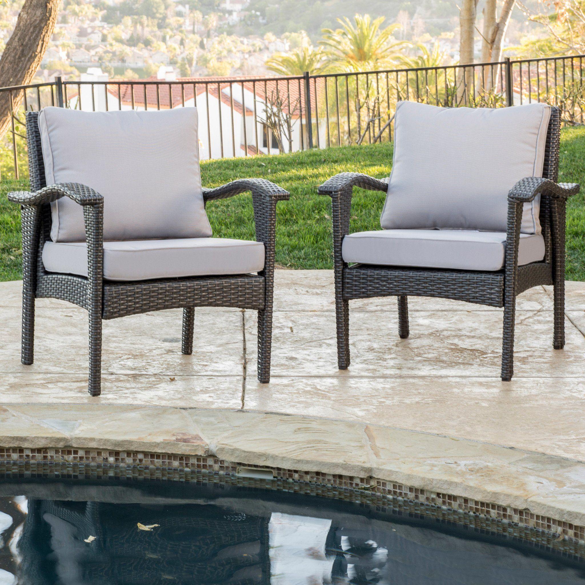 bleecker outdoor grey wicker club chair with cushion set of 2 rh pinterest com
