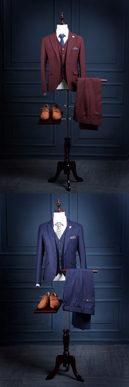 Latest Coat Pant Designs Navy Blue Burgundy Tweed Groom