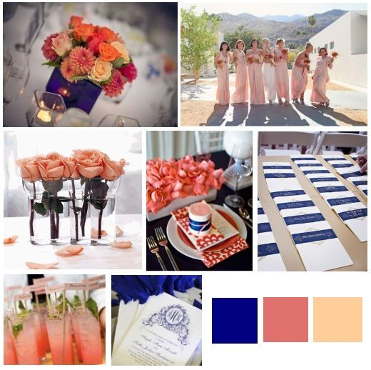 Peachy/coral/pink Tones To Accent The Cobalt Blue... Could