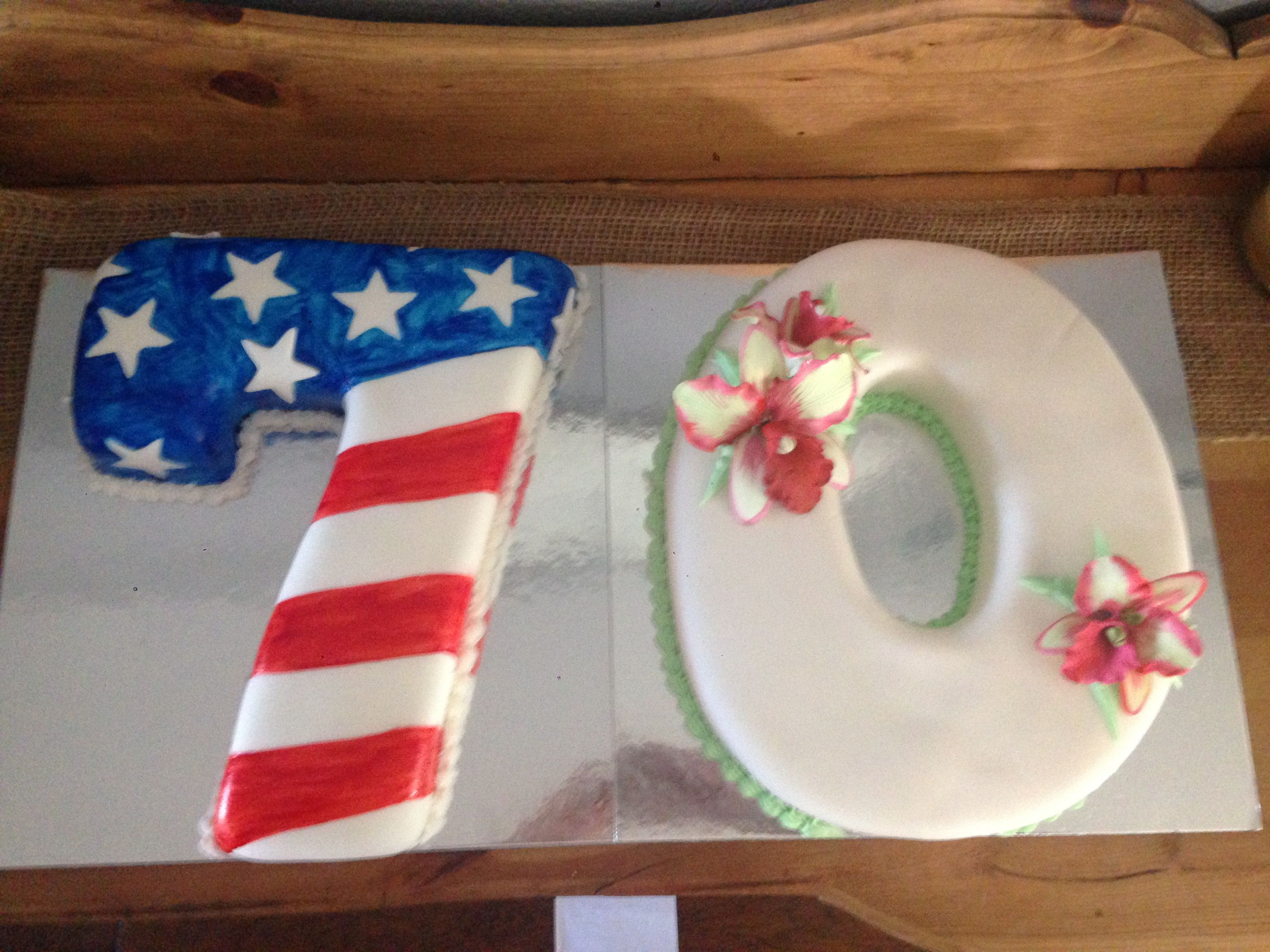 70th Birthday Cake For Grandparents Turning 70 Together Patriotic