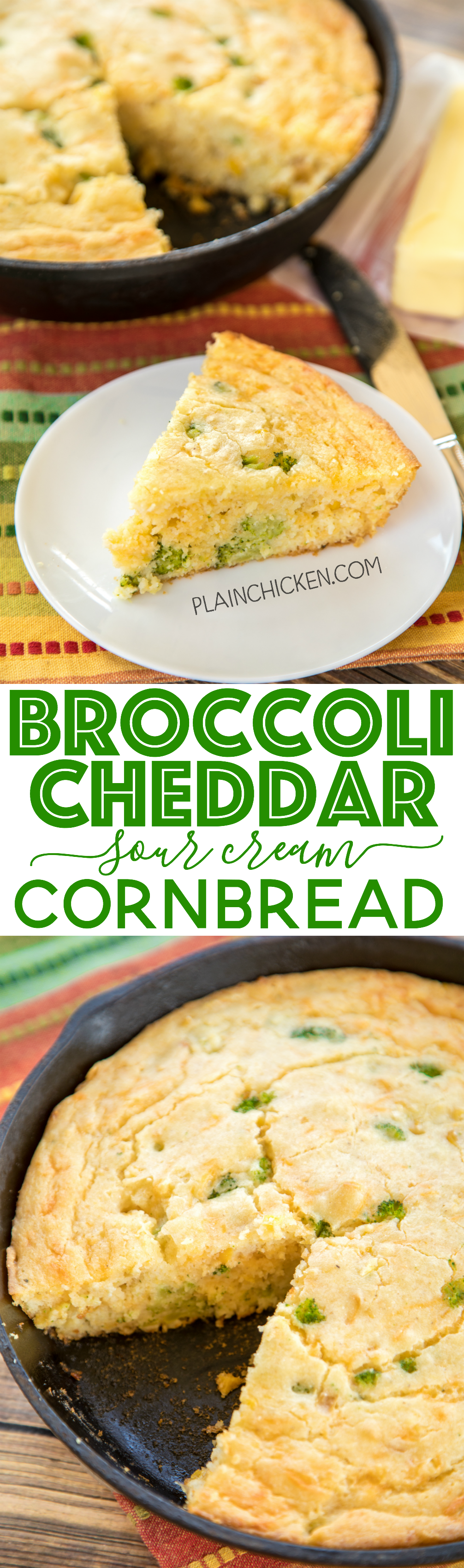 broccoli cheddar sour cream cornbread recipe only 7 ingredients rh pinterest com