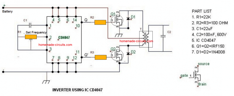 4047 Simple Inverter Circuit Audio In 2019 Circuit