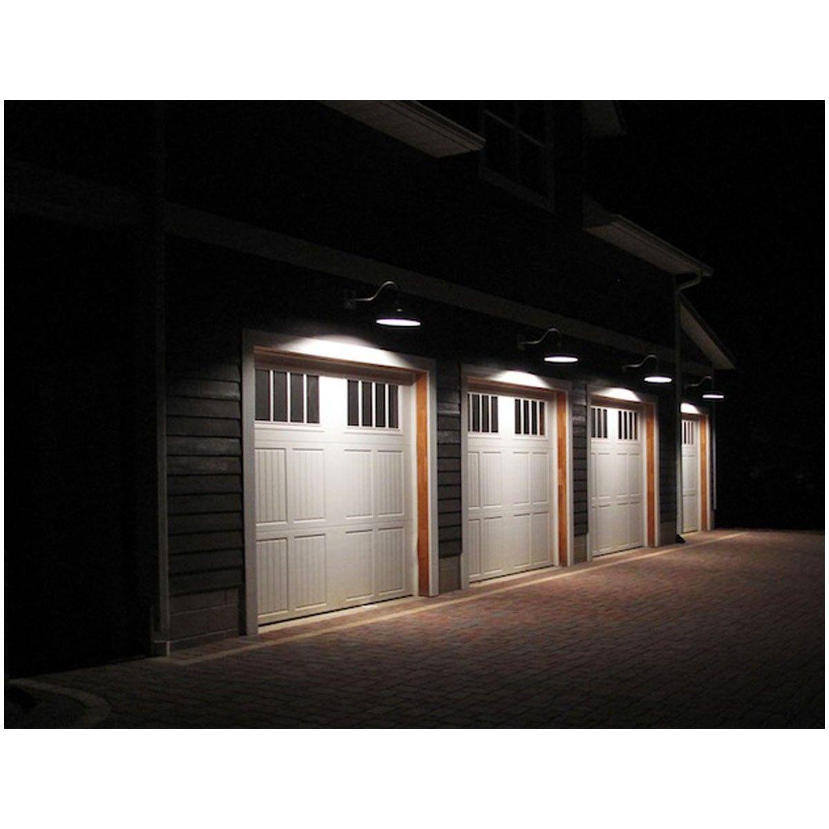 14 Satin Black Aluminum Modified Warehouse Shade With Gooseneck Farmhouse Lighting Farmhouse Outdoor Lighting Garage Lighting
